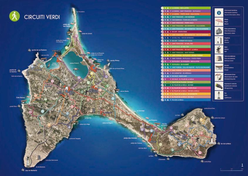 mappa dei circuiti verdi di formentera