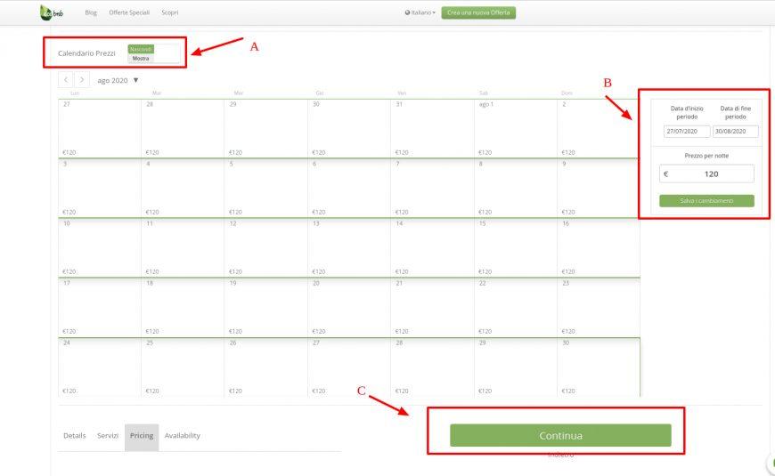 calendario prezzi