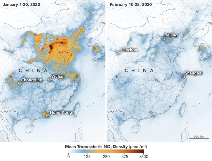 Mappa delle concentrazioni di inquinanti dell'aria prima e dopo l'emergenza coronavirus in Cina