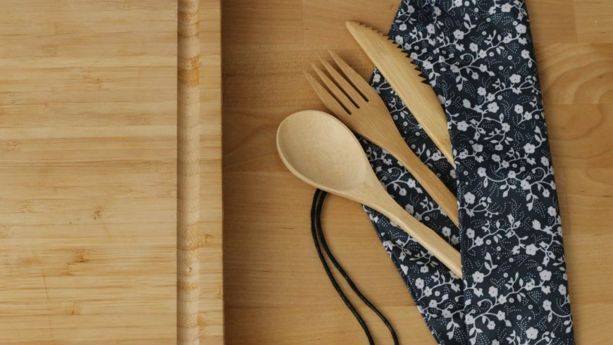 posate riutilizzabili di bambù