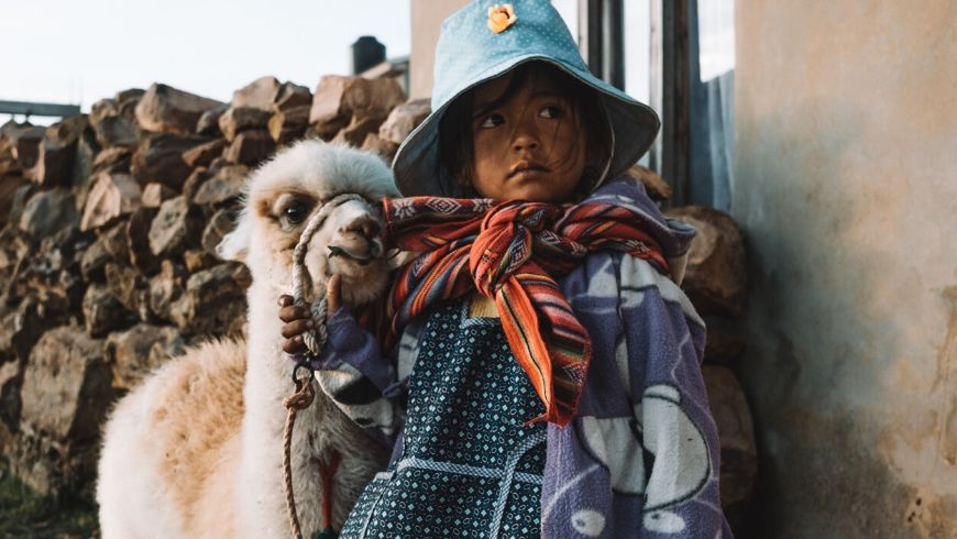 alpaca insieme a una bambina sudamericana