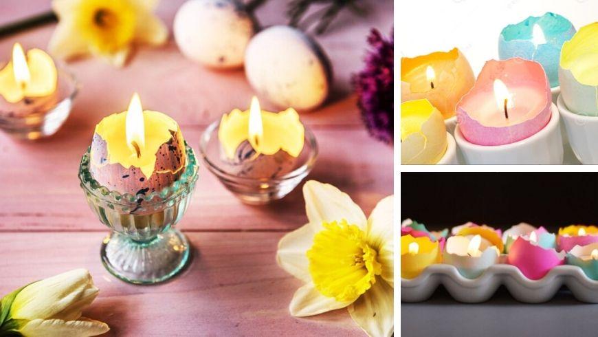 decorazioni pasquali candele nelle uova