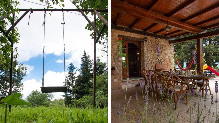 tavolo esterno e giardino di villa lola su ecobnb
