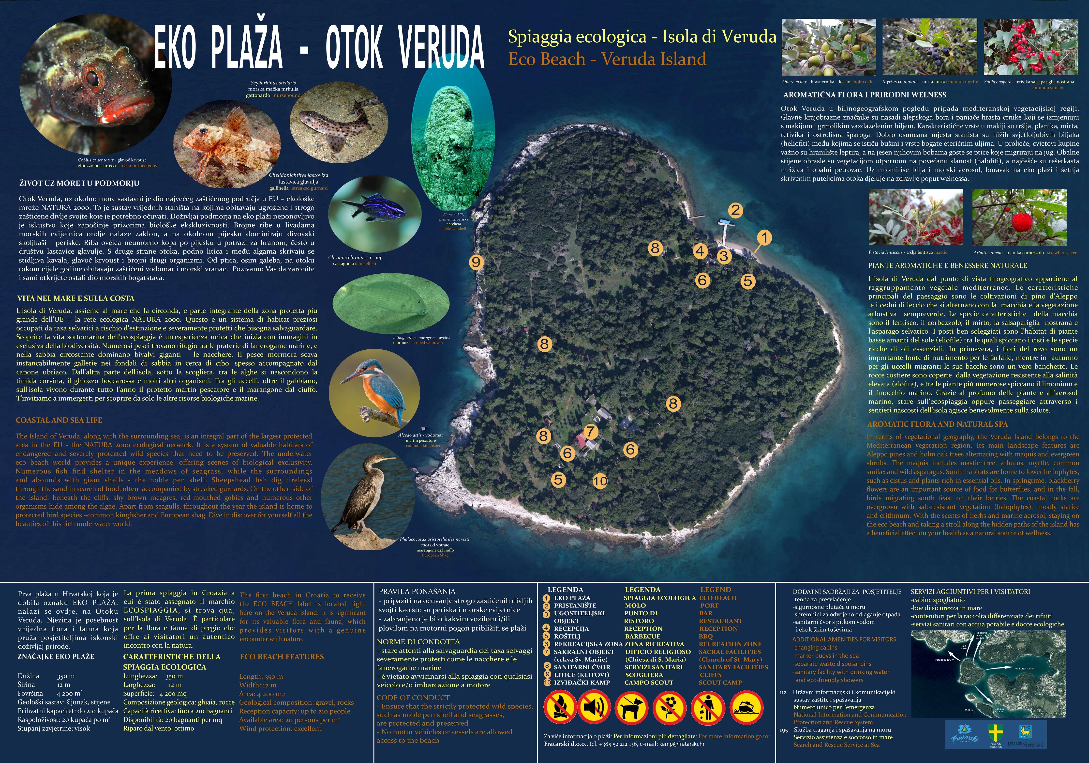 Spiaggia ecologica dell'Isola di Veruda, vicino a Pola
