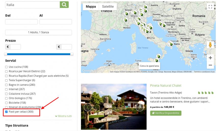 come selezionare pasti per celiaci e trovare hotel gluten free su Ecobnb