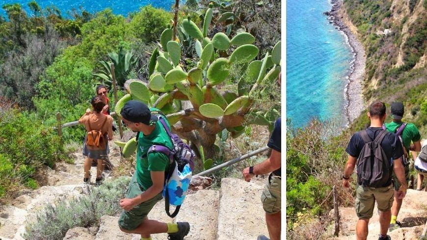 Il team Tourists for Future camminano tra i sentieri trekking di Ischia
