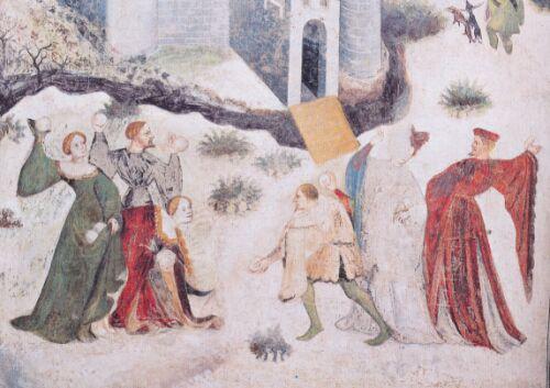 Affresco a Torre Aquila, Gennaio. Nobili giocano a palle di neve nei pressi del Castel Stenico