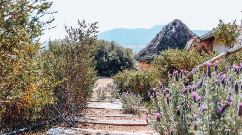 Scalini fatti con antiche traverse di ferrovia a Essenza Sardegna