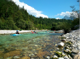 Kayak sul fiume Isonzo.