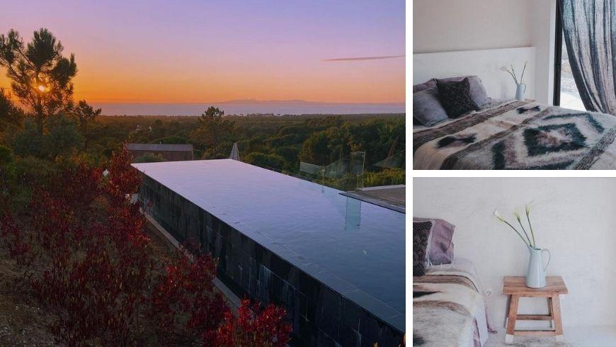 piscina al tramonto e camera dell'eco-bnb Villa Epicurea
