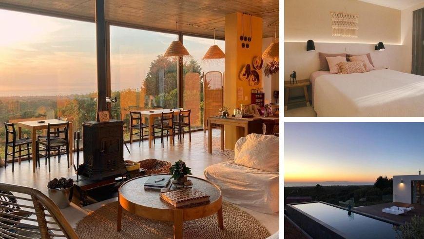 soggiorno, camera e panorama dall'eco-resort Villa Epicurea