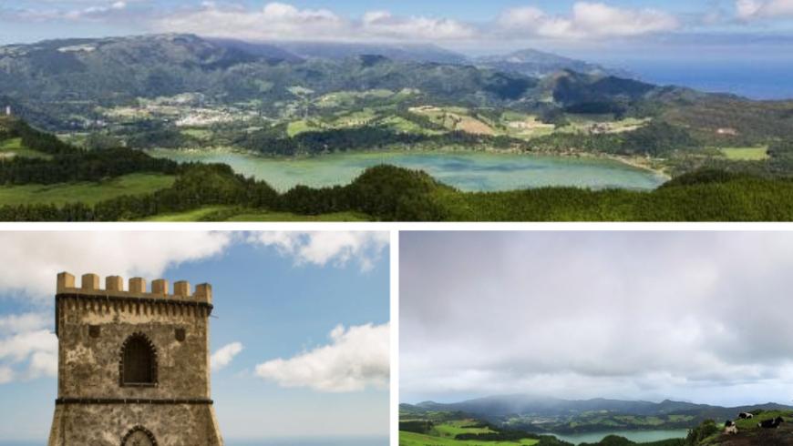 Miradouro do Castelo Branco. Photos by olhares.com, ilhoa.pt, and tripadvisor.pt
