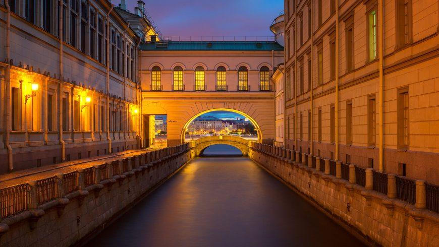 "Zimnyaya Kanavka, il ""Canale d'Inverno"" a San Pietroburgo di notte"