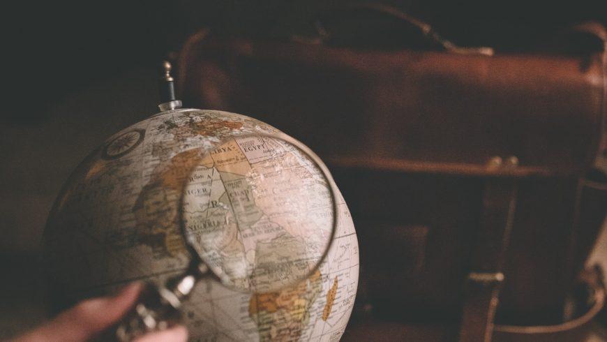 mappamondo per organizzare un viaggio