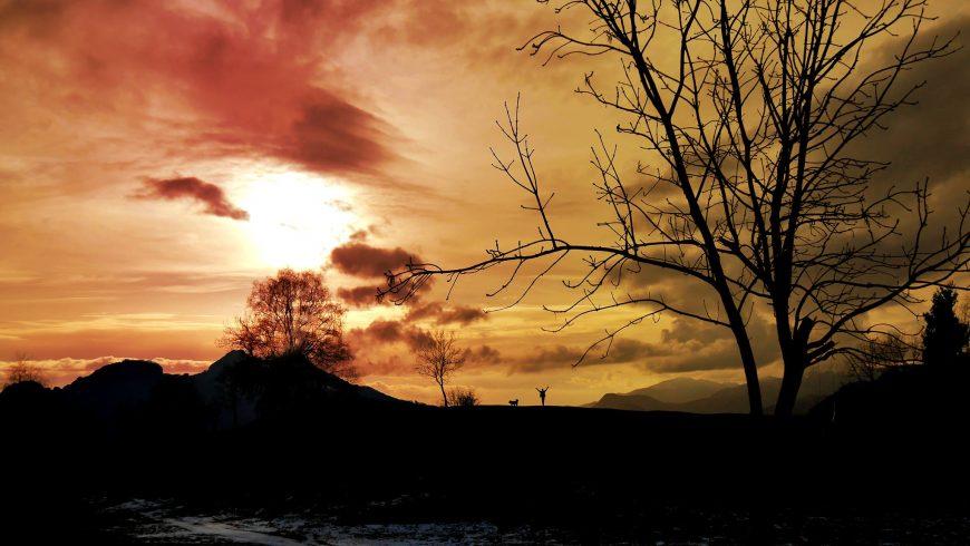 vivere in campeggio, tramonto