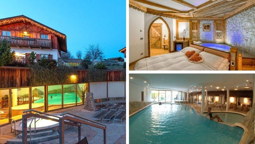 Location dell'hotel in Trentino, piscina e una loro camera