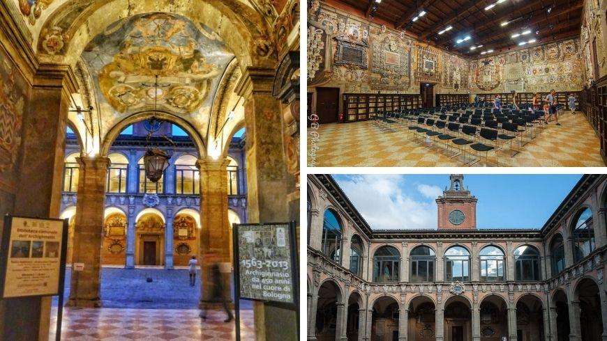 Archiginnasio di Bologna, foto della aula magna e delle arcate decorate