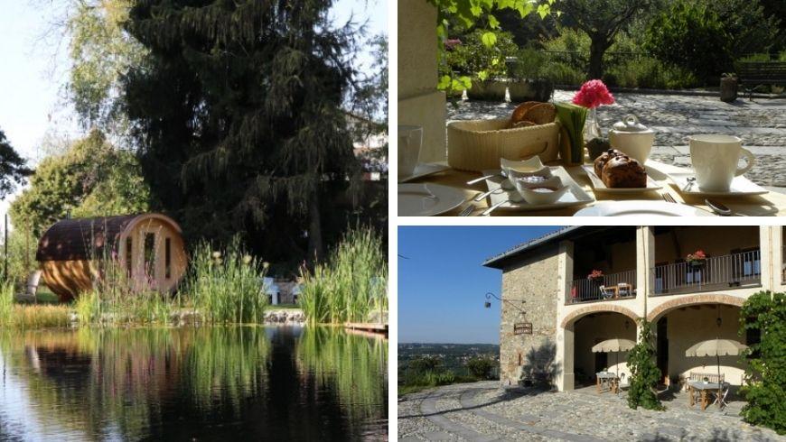 Diverse immagini della Cascia Rodiani, la sauna vicino al lago, la loro colazione bio e la struttura