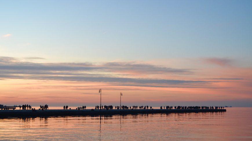 Molo Audace a Trieste al tramonto