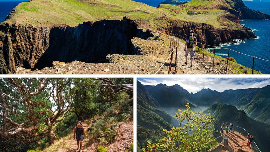 Hiking a Madeira. Foto di lido-tours.com, digitaltravelcouple.com, visitmadeira.pt