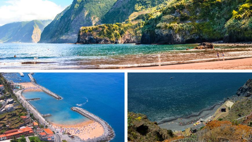 Spiagge di Madeira. Foto di visitmadeira.pt, wikipedia.org, tropicasamadeira.com