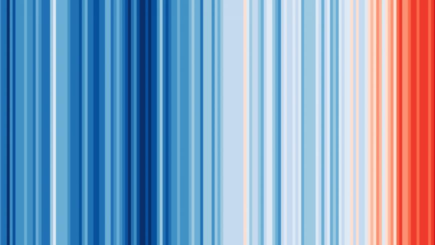 opera d'arte composta da strisce che rappresentano il cambiamento climatico