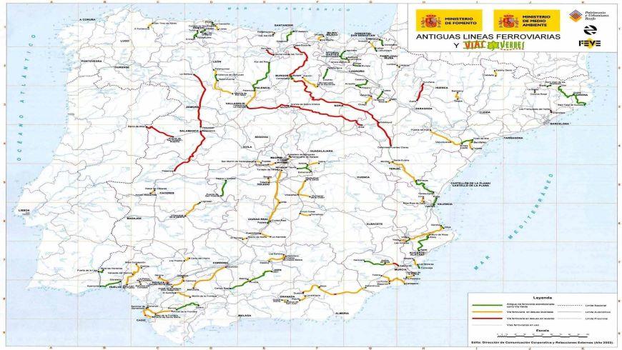 Mappa delle vie verdi in Spagna